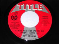 Roy Robbins: It Was Time For Me To Go / You Won't Find The Girl 45 - Title