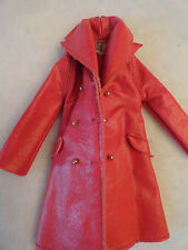 Vintage JULIA 1968 Barbie Doll LEATHER WEATHER Red Vinyl Coat Jacket