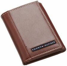 NEW TOMMY HILFIGER MEN'S TAN LEATHER CREDIT CARD TRIFOLD CAMBRIDGE WALLET