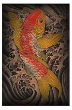 Koi by Clark North Tattoo Art Print Japanese Asian Traditional Fish Waves