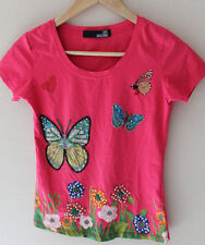 LOVE MOSCHINO Pearls & Sequins Embellished Butterflies Crew Neck T Shirt S MELON