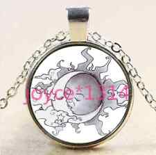 Vintage SUN And Moon Cabochon silver Glass Chain Pendant Necklace #2594