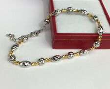 18k Solid TwoTones Gold Cute Ball Diamond Cut Italy Bracelet, 7inches. 5.58grams