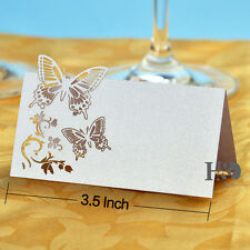 100PCS White Butterfly Laser Cut Wedding Party Table Name Place Cards Favor Deco