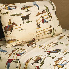QUEEN BED SHEET SET FOR SWEET JOJO DESIGNS WILD WEST COW BOY WESTERN KID BEDDING