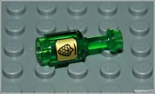 Lego Castle x1 Trans Green Bottle Label Wine Kitchen Pirates Food Minifigure NEW