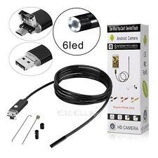 2M 8mm 6 LED Android Endoscope Waterproof Snake Borescope USB Inspection Camera