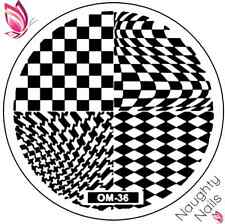 OM-36 STAMPING PLATE Nail Art Stencil Stamp Template Checkers Houndstooth