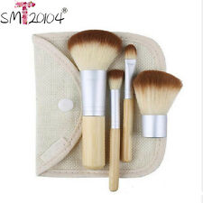 4PCS Bamboo Handle Makeup Brushes Set Cosmetics Tools Kit Powder Kabuki Blush A@