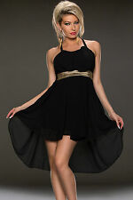 Mini Abito aperto Top Gonna svasato coda Gathering Hi-low Chiffon Party Dress