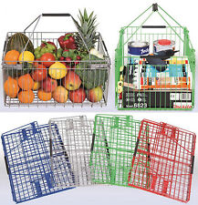 "Folding Metal Wire Basket Home Storage Car Boot Travel 4 Colours ""Red"""