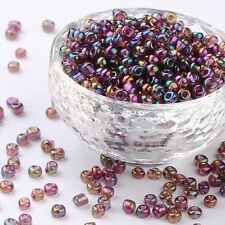 LOT DE 500 PERLES DE ROCAILLE VIOLET BLEU VERT Ø 4 mm 6/0 CREATION BIJOUX