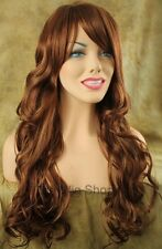Long Wavy Strawberry Blonde 27 Red 29 Mix Wig Bangs Skin Top Kanekalon BW
