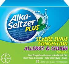 2 Pack Alka-Seltzer Plus Severe Sinus Congestion Allergy and Cough 20 Gels Each