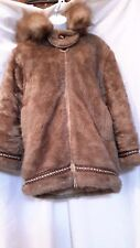 Ladies Vintage Stearns Light Brown Faux Fur Eskimo Coat M
