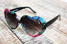 Pink Turquoise Flowers Heart Shape Women's Sunglasses Vintage Gradient Black Len