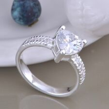 Ladies 925 Sterling Silver Solitaire Crystal Heart Fashion Casual Ring Size 8