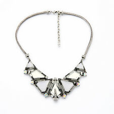 Collier Argenté Pavé Gerometrique Art Deco Triangle Blanc Ethnique Original AZ2