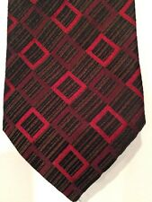 Hugo Boss Necktie Mens Silk Tie Red Black Brown Made in Italy