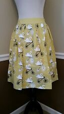 Modcloth Going Going Swan Skirt S Mustard Vintage Bike Print Retro Love Dove $69