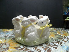 EASTER BUNNY PARADE CERAMIC BOWL OR CANDLE HOLDER  COOL