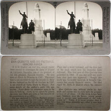 Keystone Stereoview Don Quixote Statue in Madrid, SPAIN From RARE 1200 Card Set