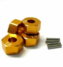 57817A 1/10 Scale RC M12 12mm Alloy Wheel Adaptors With Pins Nut Yellow 7mm