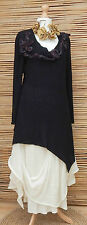 *ZUZA BART*DESIGN AMAZING BEAUTIFUL APPLIQUE WOOL TUNIC/JUMPER*BLACK*Size L-XL