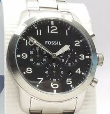 FOSSIL PILOT 54 FS5141 Men's Silver Stainless Steel Chronograph Watch $145 NEW