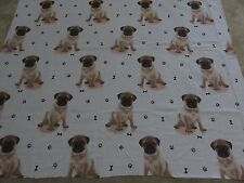 Pug pugs cute puppy dog puppies paw print bones craft fabric remnant 125x105cm
