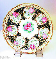 Antique Nippon Hand Painted Rose Floral Cabinet Plate Circa 1900's  VG Condition