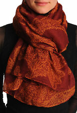 Rust Fern Leaves On Dark Burgundy Red Unisex Scarf and Beach Sarong (SF001394)