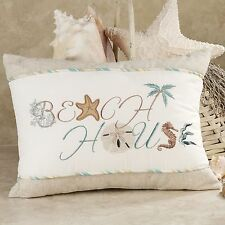 BEACH HOUSE SAYING PILLOW : NATURAL SHELL SAND SEAHORSE EMBROIDERED ACCENT TOSS
