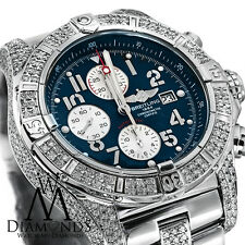 Diamond Breitling Super Avenger A13370 Blue Dial Watch 2 Row Diamond Bezel