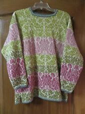 OLEANA ESPELAND NORWAY WOOL TUNIC SWEATER, LIME GREEN DK PINK BLUE, SIZE ML, EUC