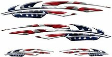 """USA Flag Racing Boat Car Truck Graphic Decals Vinyl Stickers Wrap 2- 50""""  2- 24"""""""