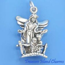 GUARDIAN ANGEL WITH TWO CHILDREN 3D .925 Solid Sterling Silver Charm Pendant