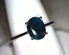 SOLID 14K WHITE GOLD RING, 1.55 OVAL FINE BLUE SAPPHIRE, EARTH MINED