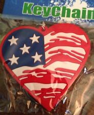 Red white Blue Heart Rubber Keychain 2""