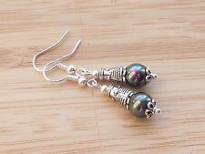 Sea Shell Pearl Semi Precious Gemstones Tibetan Silver Earrings Hook 38 mm