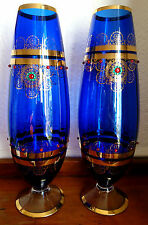 """Murano ~ italie ~ x-large ~ 18 ~ 1/8"""" tall ~ paire ~ vintage ~ bleu cobalt ~ gold ~ footed vases ~ exc!"""