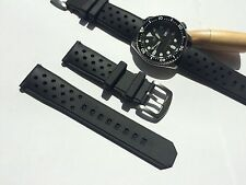 22mm Black Silicone Rubber Watch Band Strap for Seiko Dive r Scuba fit 22mm LUG