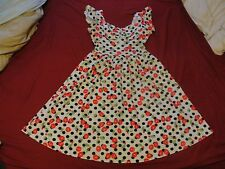 Rockabilly Pin Up Girl Large Full Skirted Dress in Cherry!