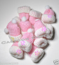 12 BABY SHOWER FAVORS HATS RECUERDOS PARTY FAVORS PINK GIRLS KNITTED BABY HATS