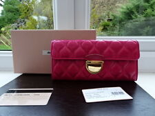 100% Authentic Miu Miu Pink/Fuschia Quilted Leather Purse Wallet BNIB