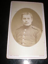 Cdv old photograph soldier moustache Dittrich Dresden Germany 1880s Rf 507(15)