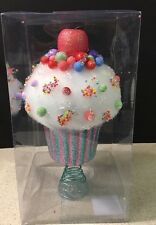 "JUMBO FAKE CUPCAKE TREE TOPPER CANDY LAND 12"" TALL RARE NEW"