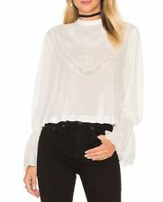 3734 New Free People Femme Fatale Embroidered Bell Sleeve Buttondown Ivory Top M