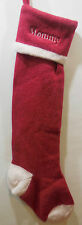 "NWOT Pottery Barn Kids NATURAL FAIR ISLE STOCKING Wool SOLID RED ""MOMMY"""