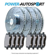 (FRONT + REAR) POWER DRILLED SLOTTED PLATED BRAKE DISC ROTORS + PADS 57244PK